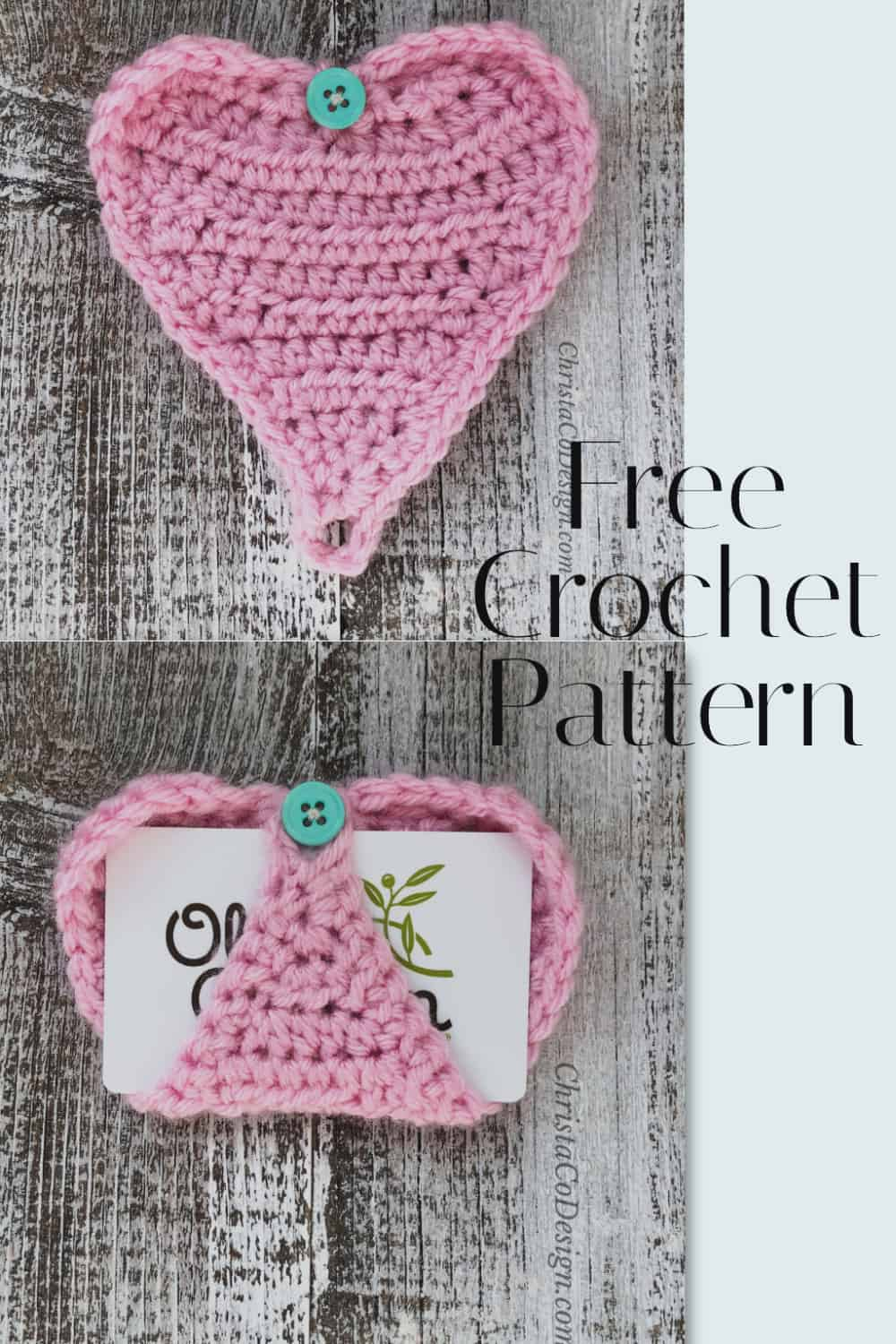 pin image with text crochet gift card holder heart in pink free pattern