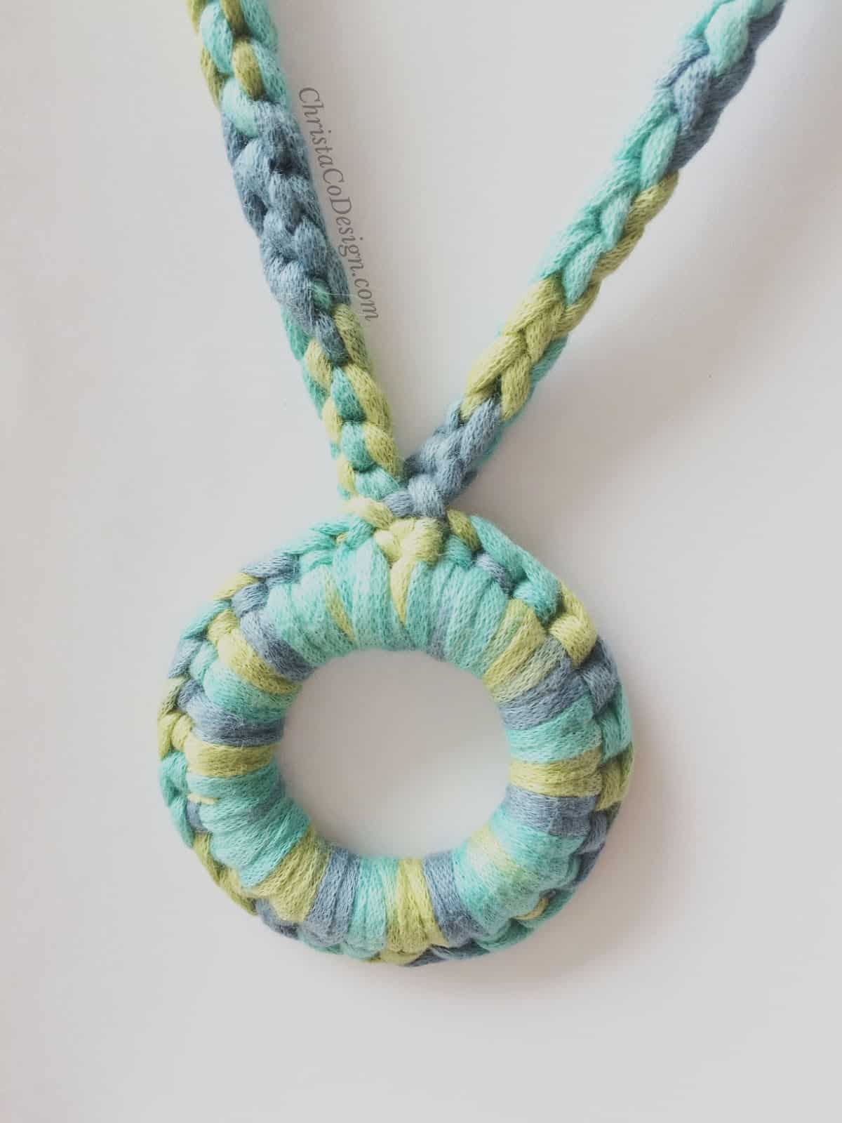 picture of blue and green crochet nursing necklace