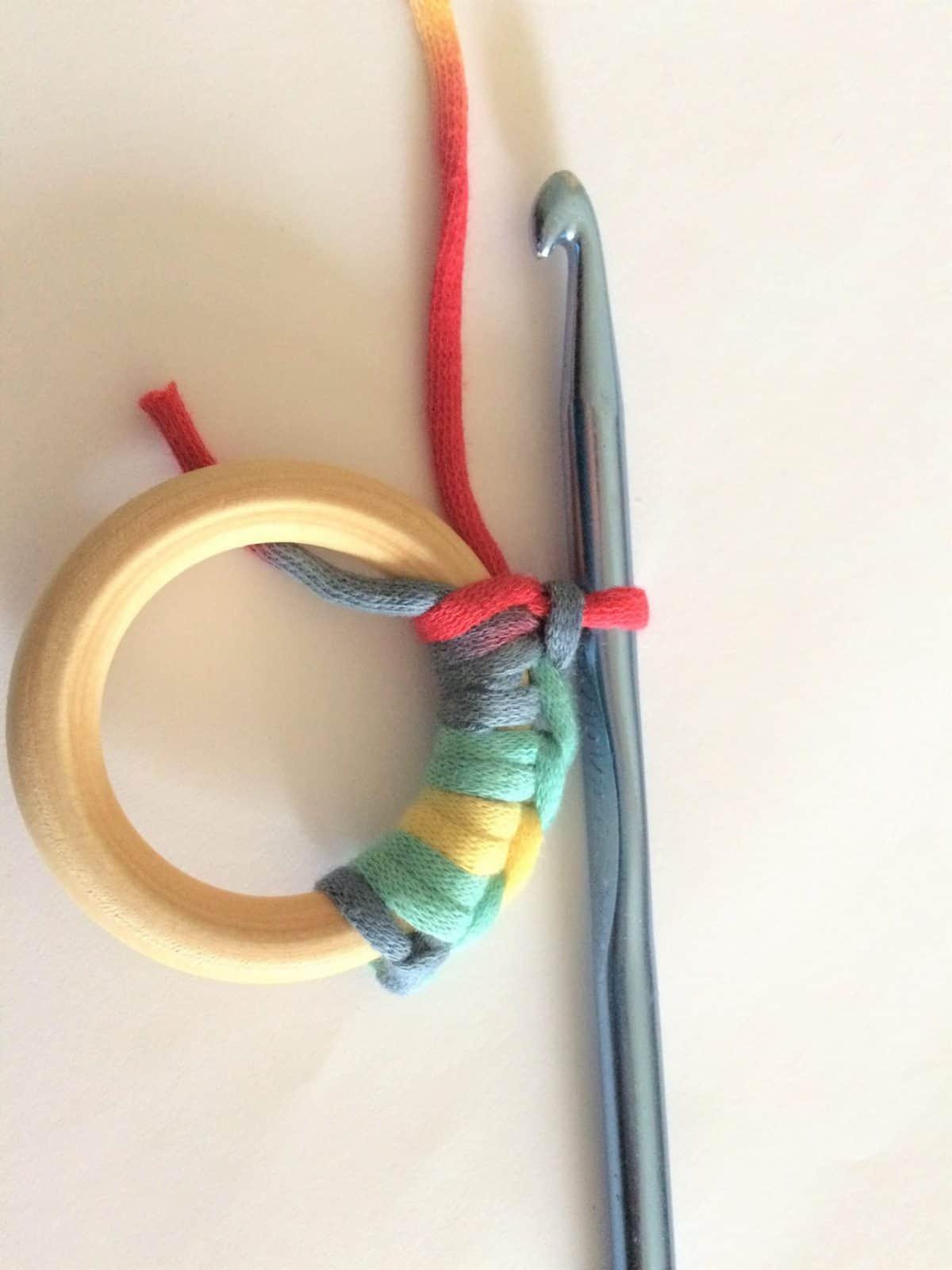 Crochet around ring.