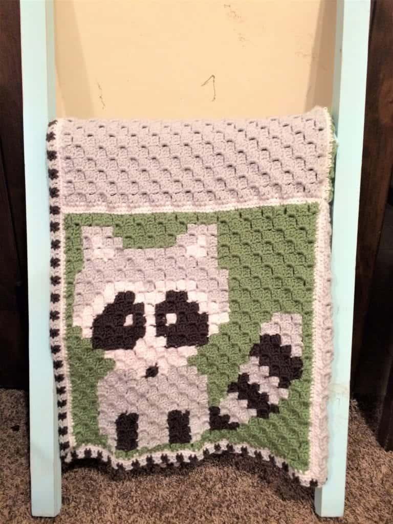 picture of raccoon corner to corner crochet blanket