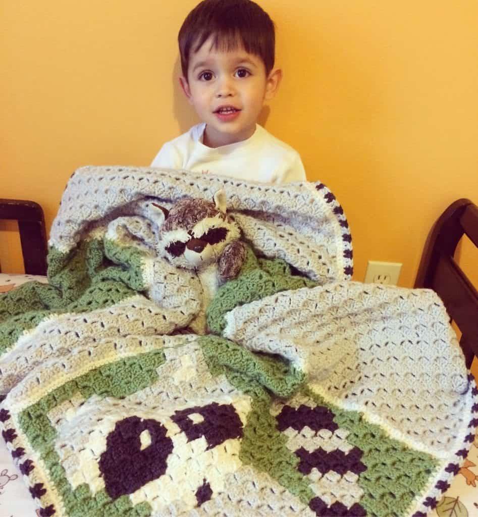 picture of raccoon crochet corner to corner crochet blanket