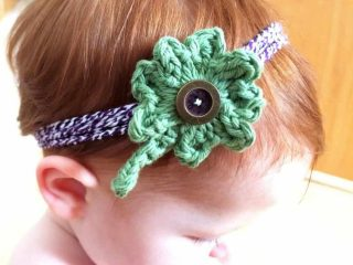 crochet four leaf clover headband