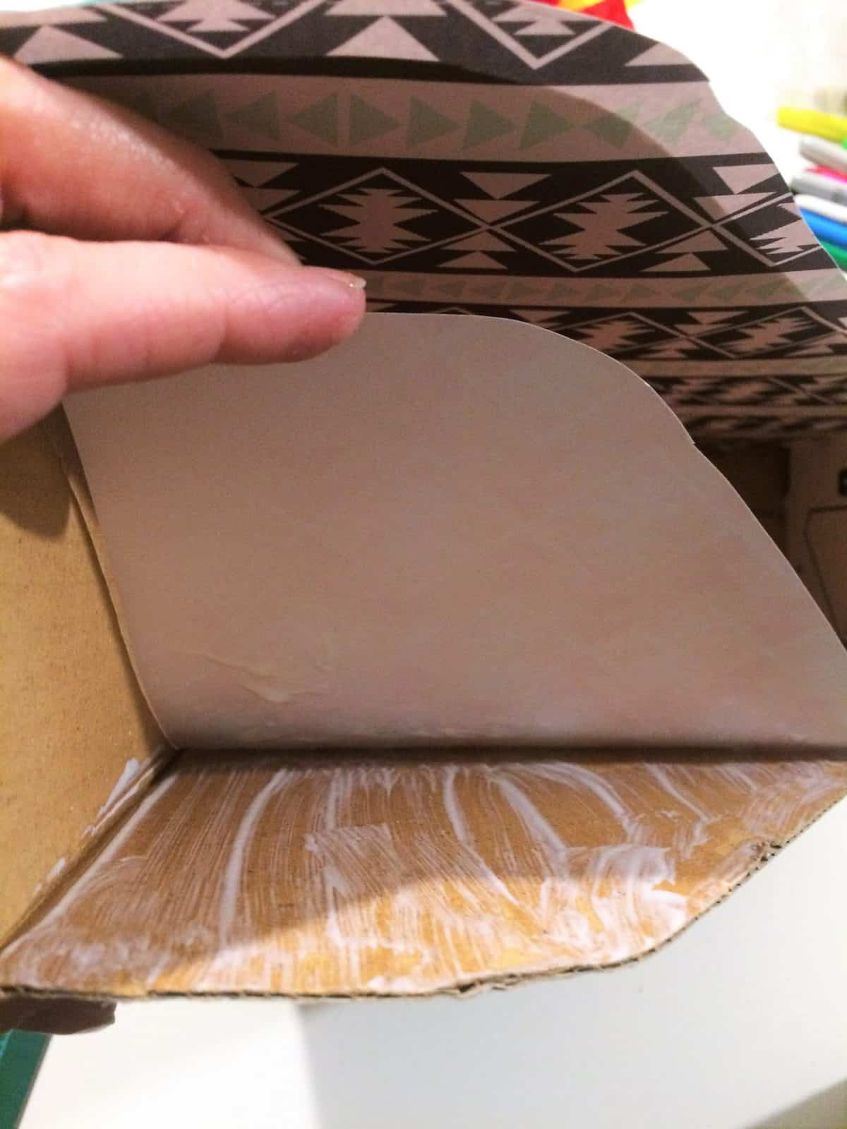 Glue in sections inside first press down paper.