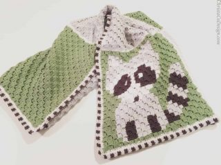 picture of crochet blanket raccoon