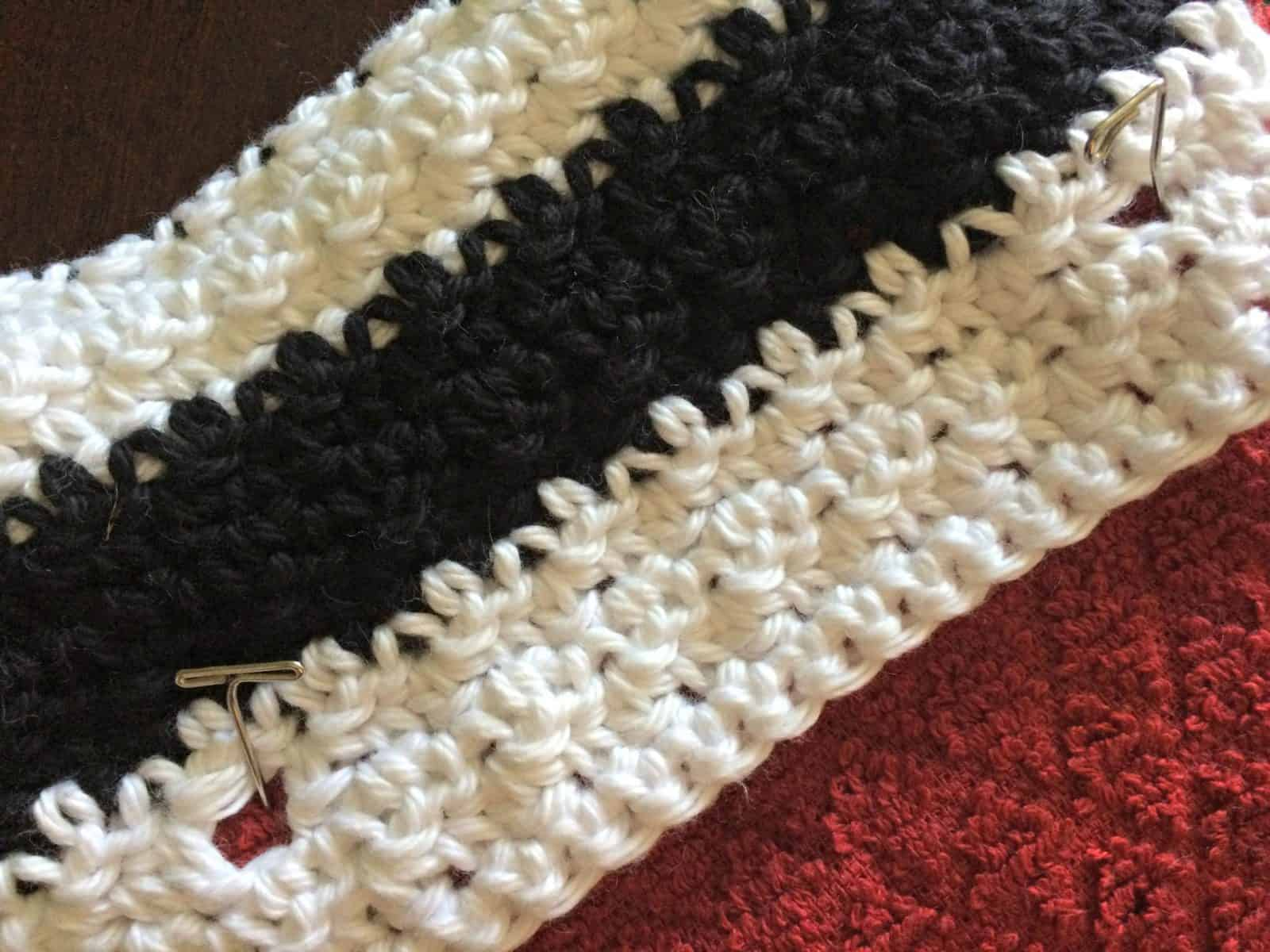 Pin in place crochet towel topper.