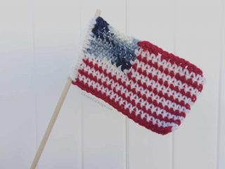 picture of usa crochet flag on white background