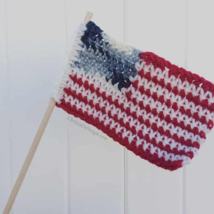 Usa crochet flag on white background