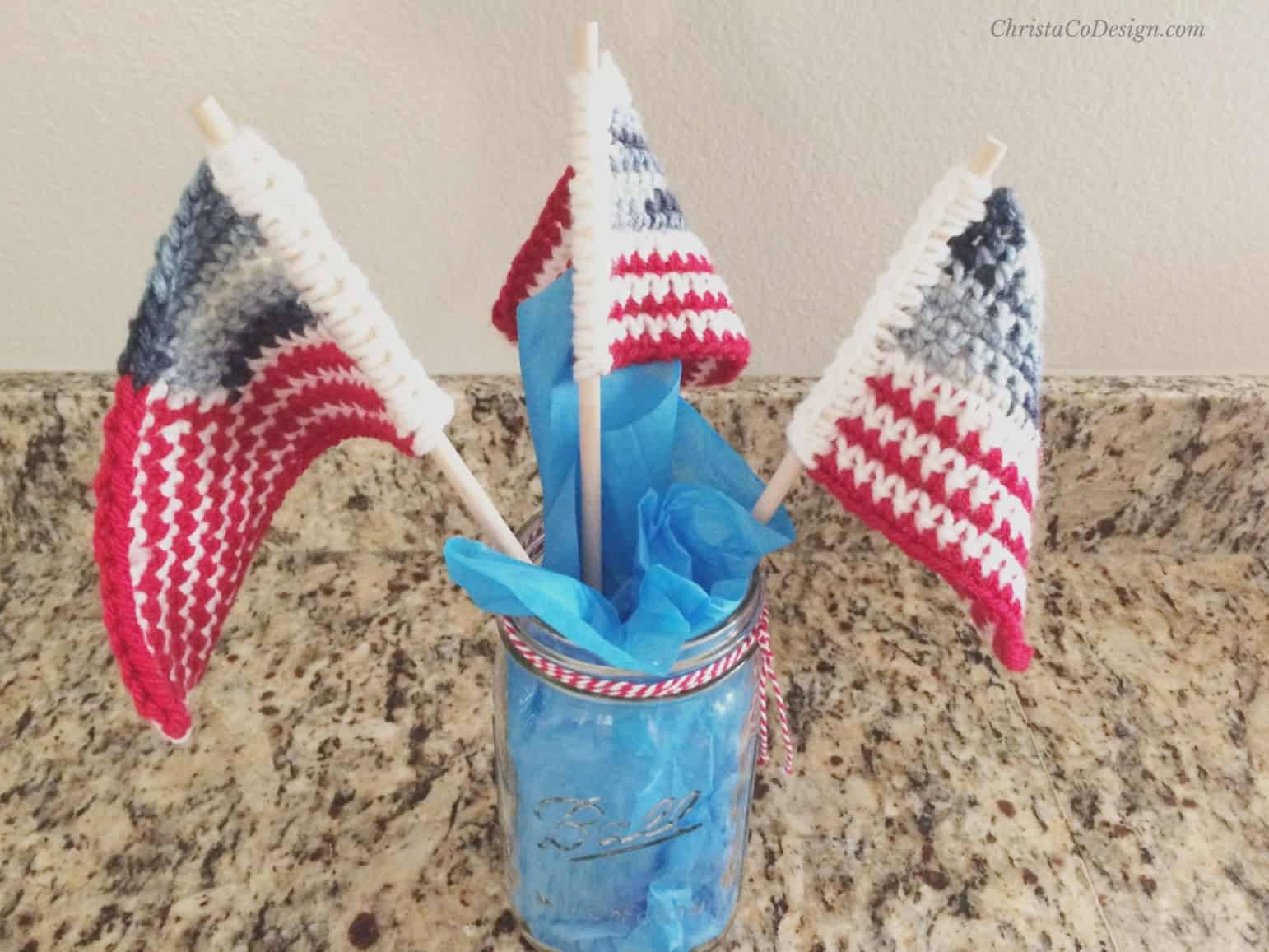 picture of crochet flags in mason jar