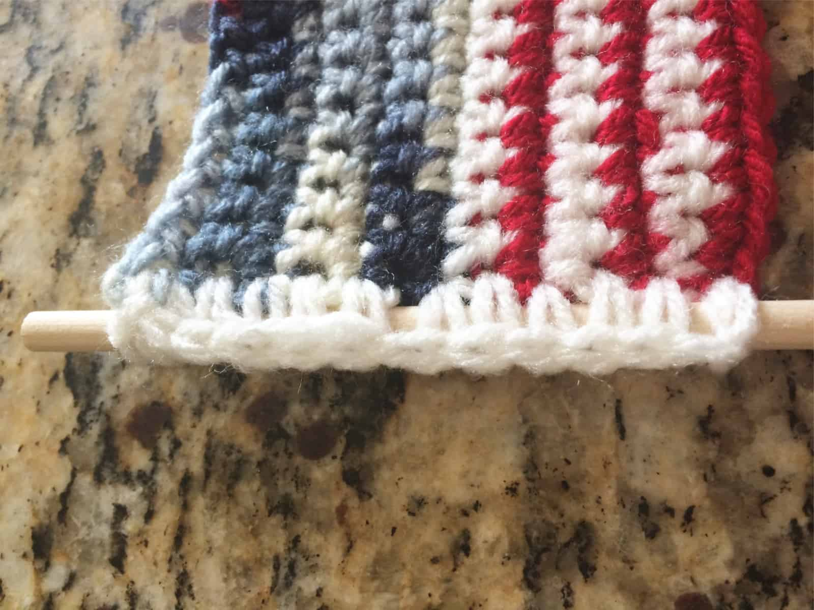 picture of finished flag on dowel