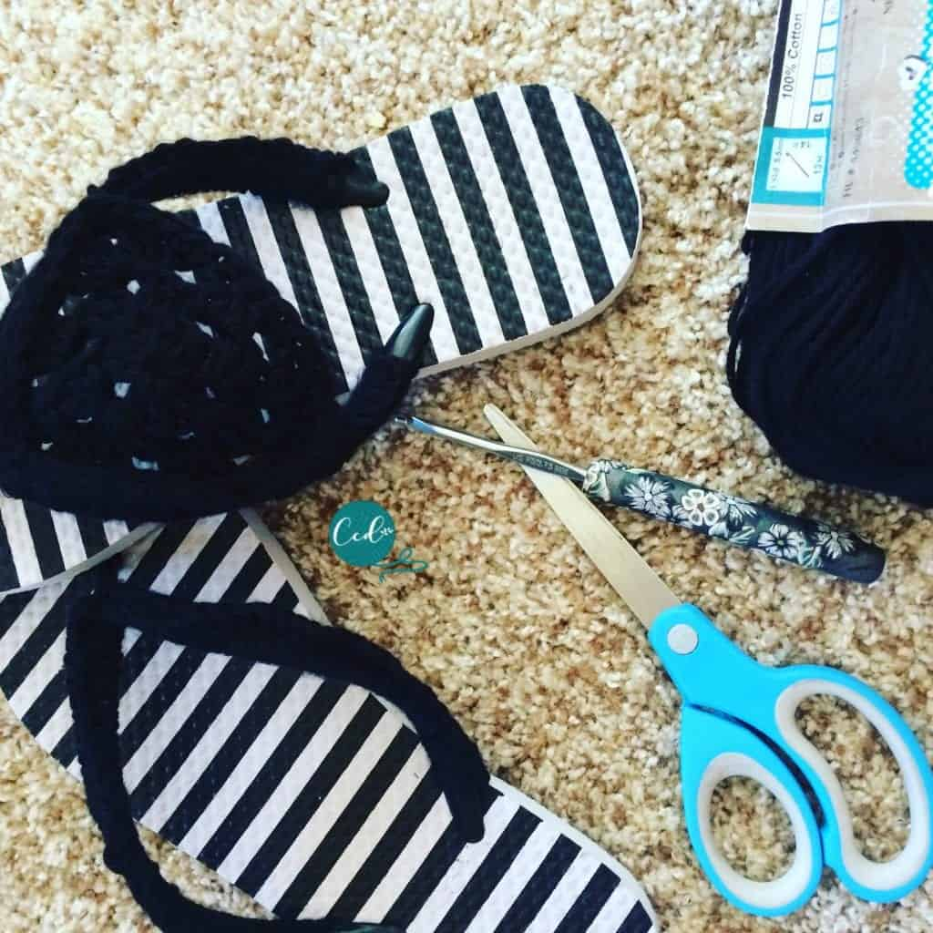 Crochet sandals and notions.