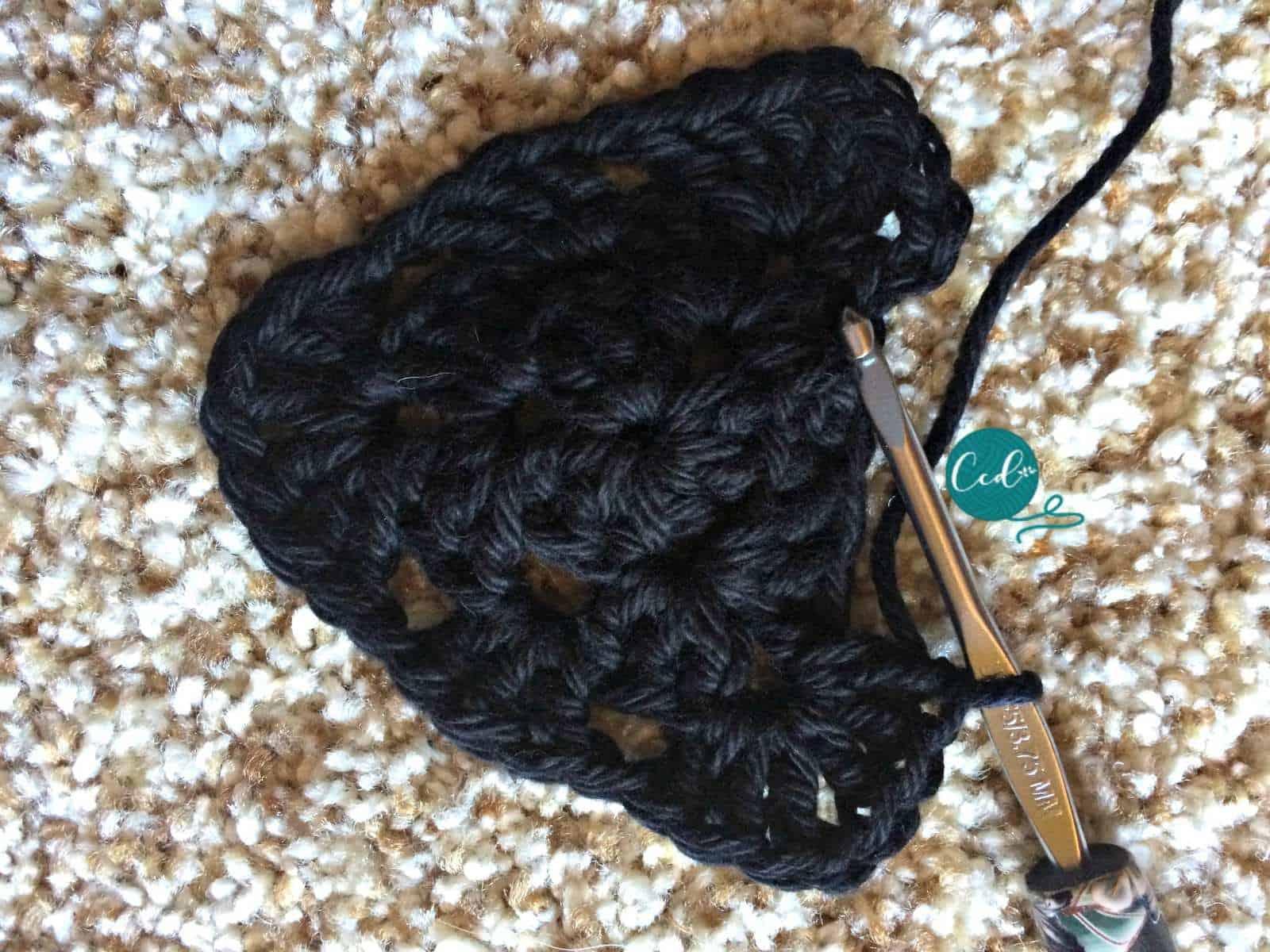 Crochet sandal row 3 end.