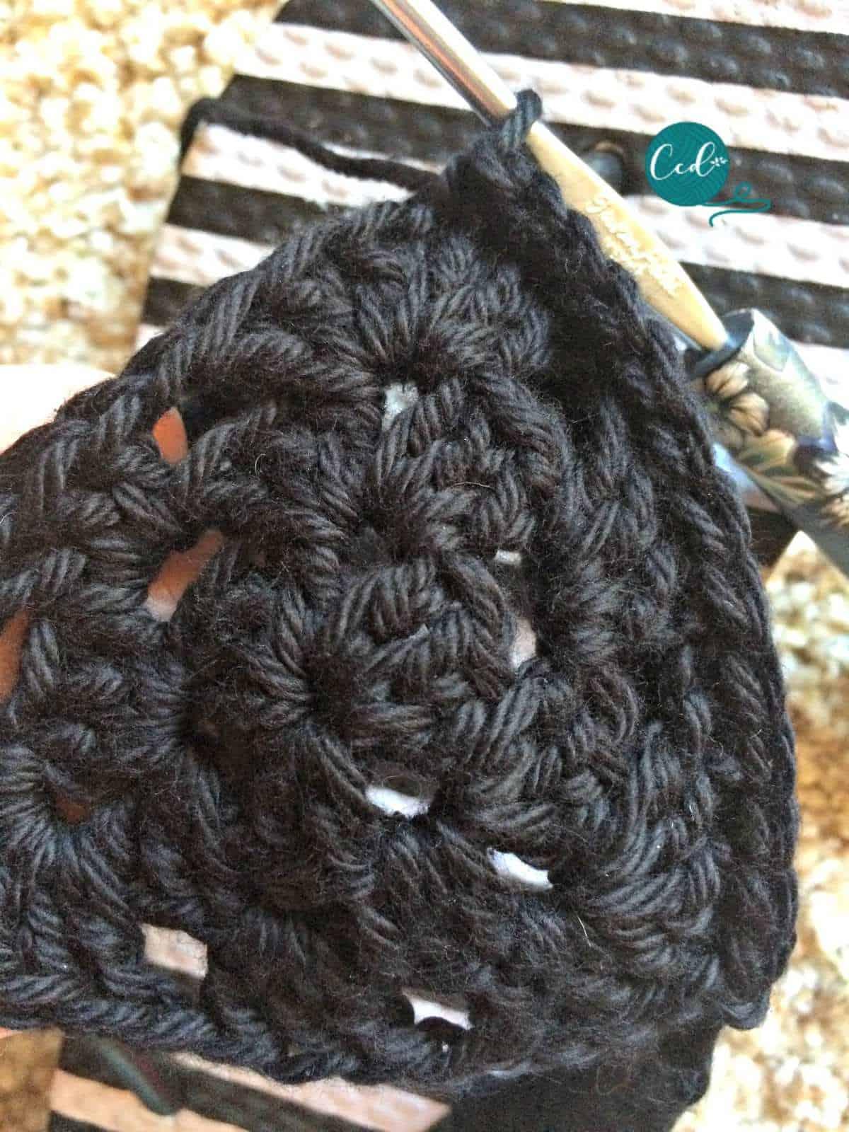 Crochet sandals slip stitch triangle.
