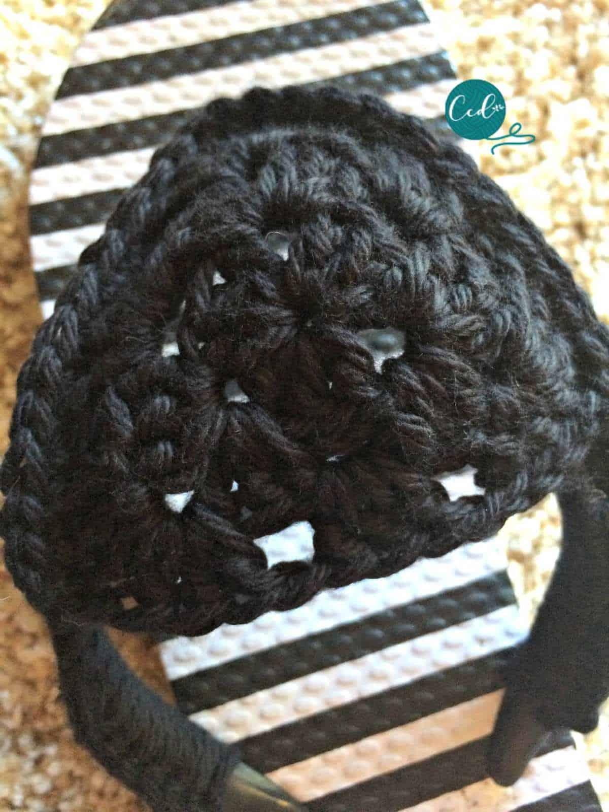 Granny triangle crochet sandal.