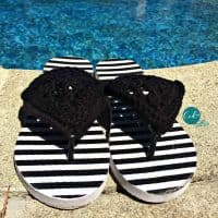 picture of black crochet sandals by pool