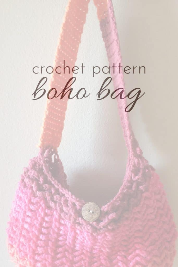 Pink One Skein Crochet Market Bag Pattern hanging with pin text overlay.