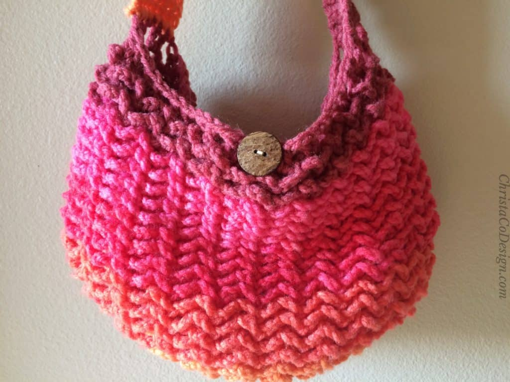 Close up of crochet texture on One Skein Crochet Market Bag Pattern.