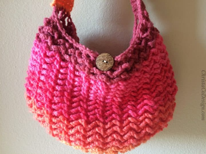 Close up of crochet texture on purse.