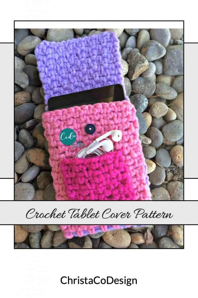 Crochet tablet cover pattern pin image.