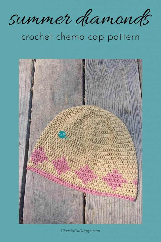 Pin image of beige beanie with pink diamonds summer chemo cap.