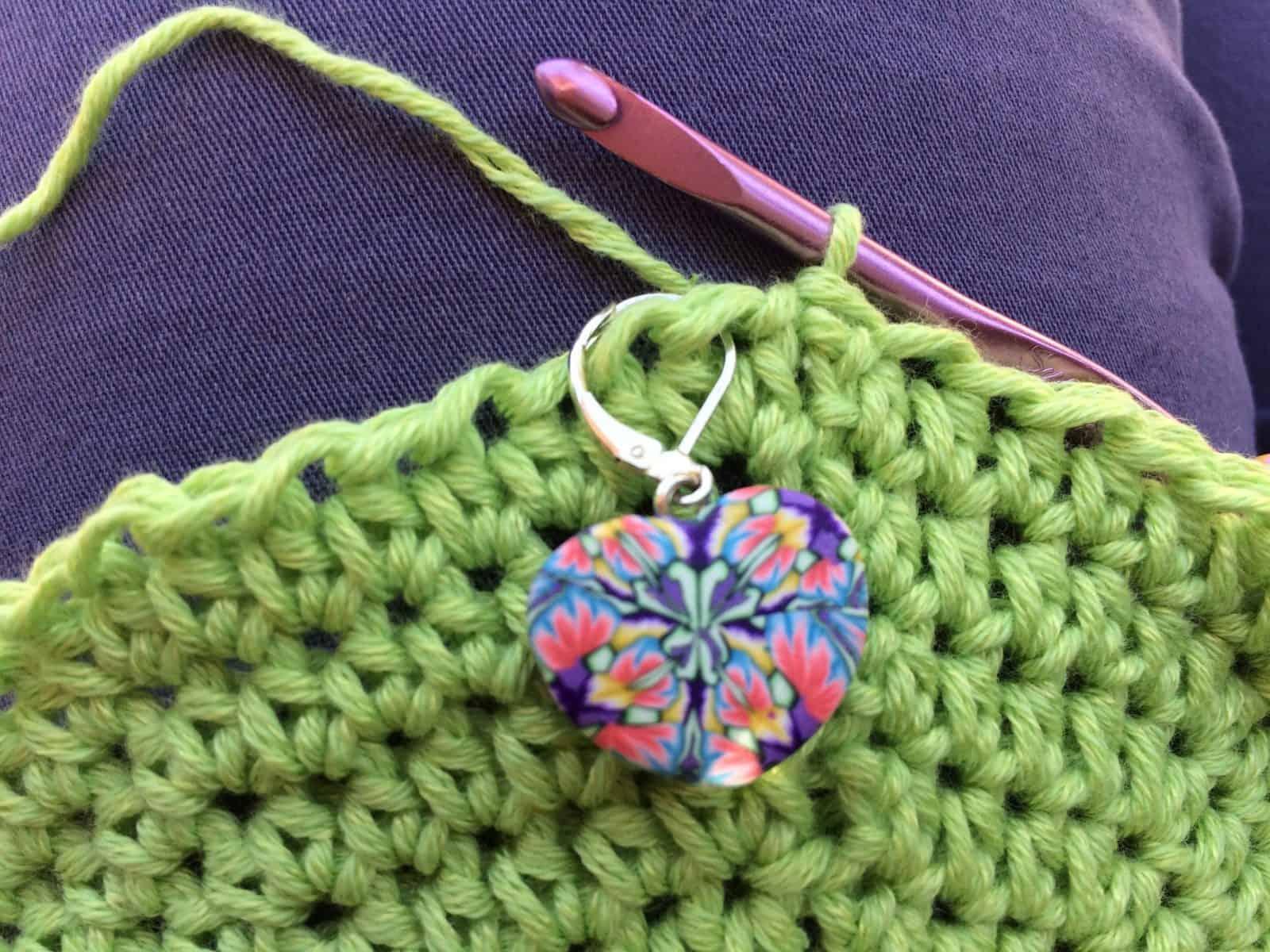 Heart stitch marker to keep track of first stitch.