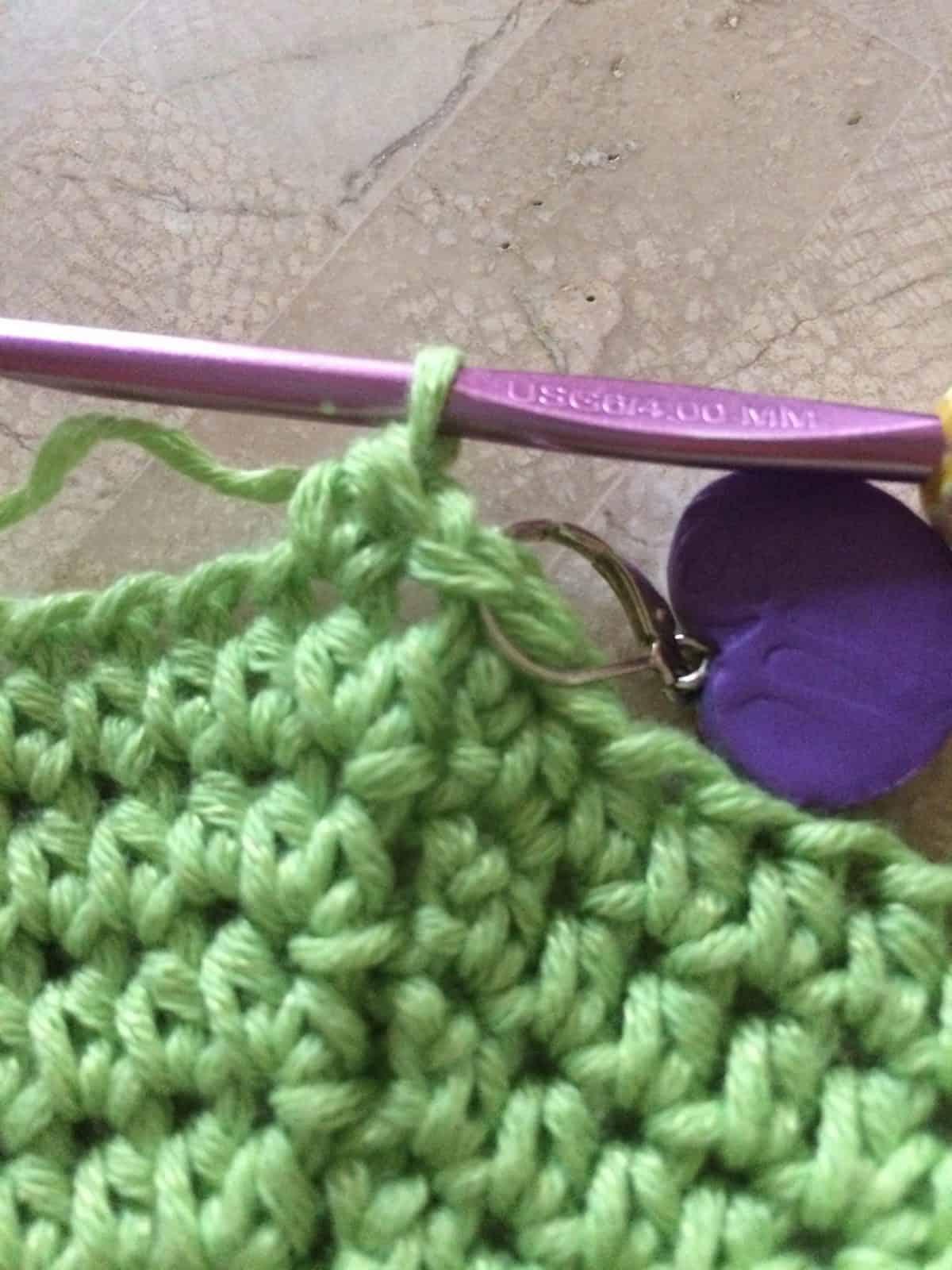 Half double crochet in next stitch.