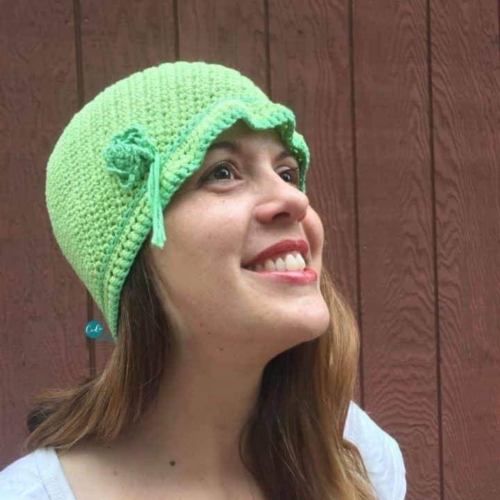 Woman in cloche style crochet cap.