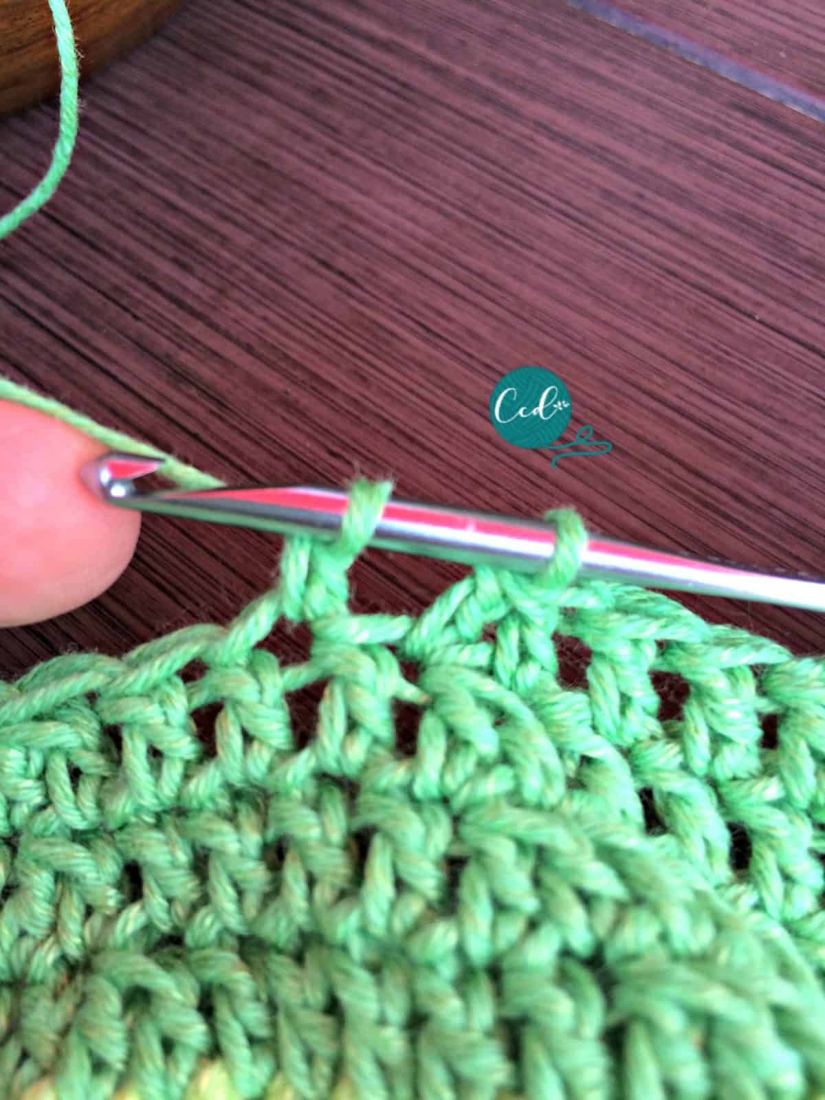 Yarn over and pull through two loops.