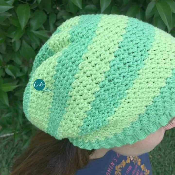 Top view of striped slouchy hat.