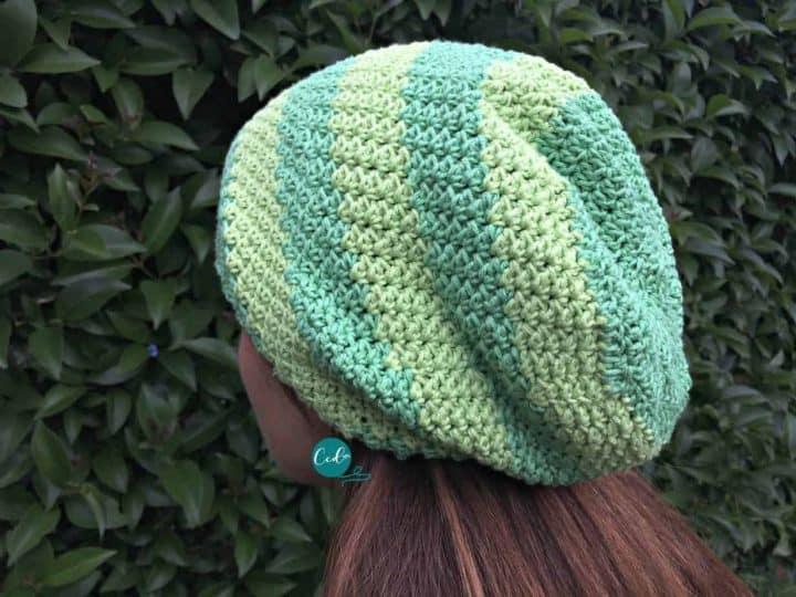Striped slouchy crochet hat.