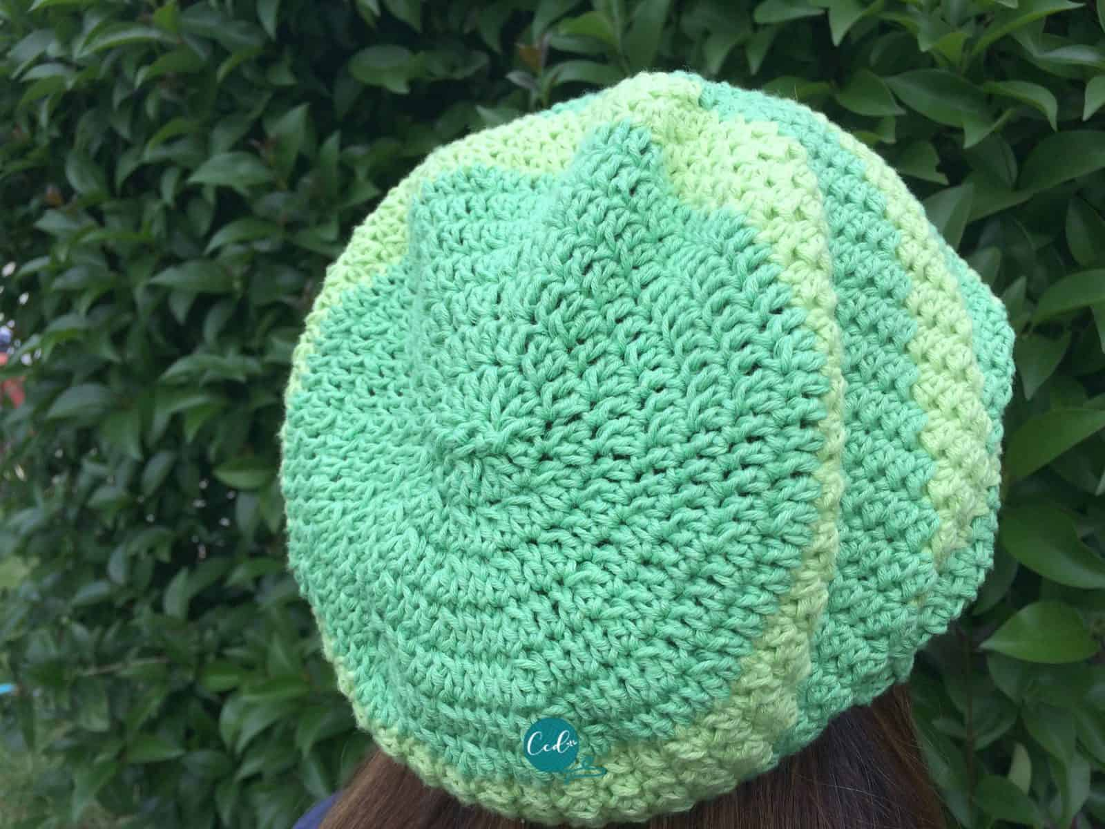 Back of green slouchy hat.
