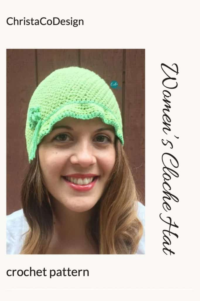 Pin image of woman in green crochet cloche style hat.