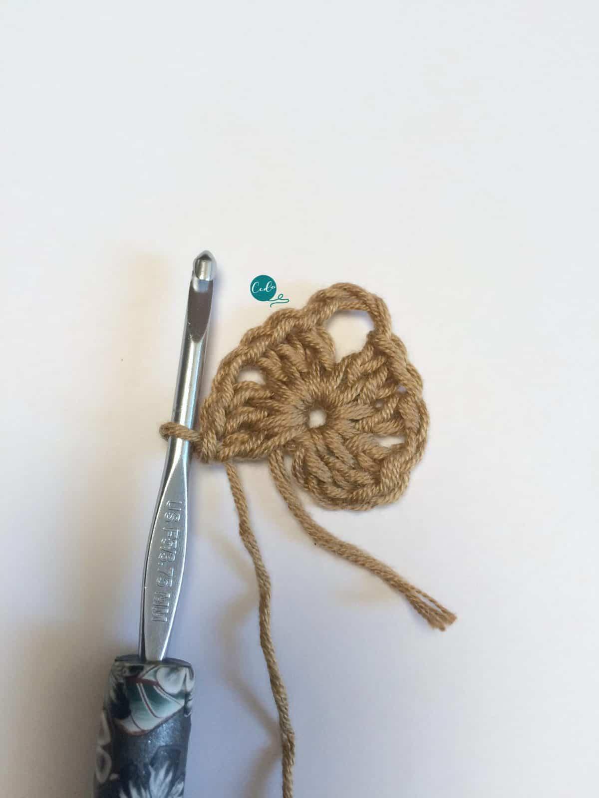 Row 1 triangle crochet shawlette.