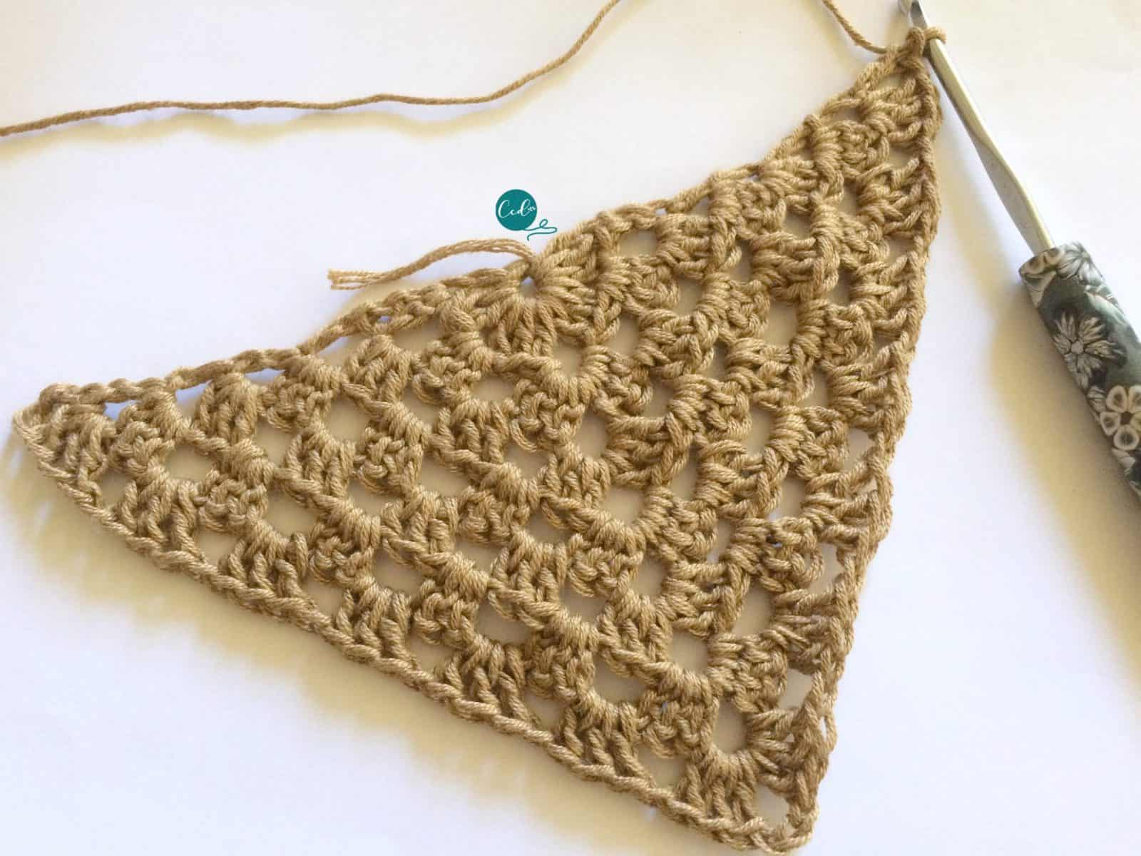 First six rows of triangle for crochet shawlette.