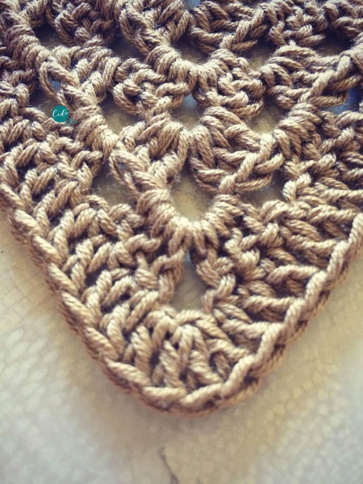 Center of crochet shawlette.