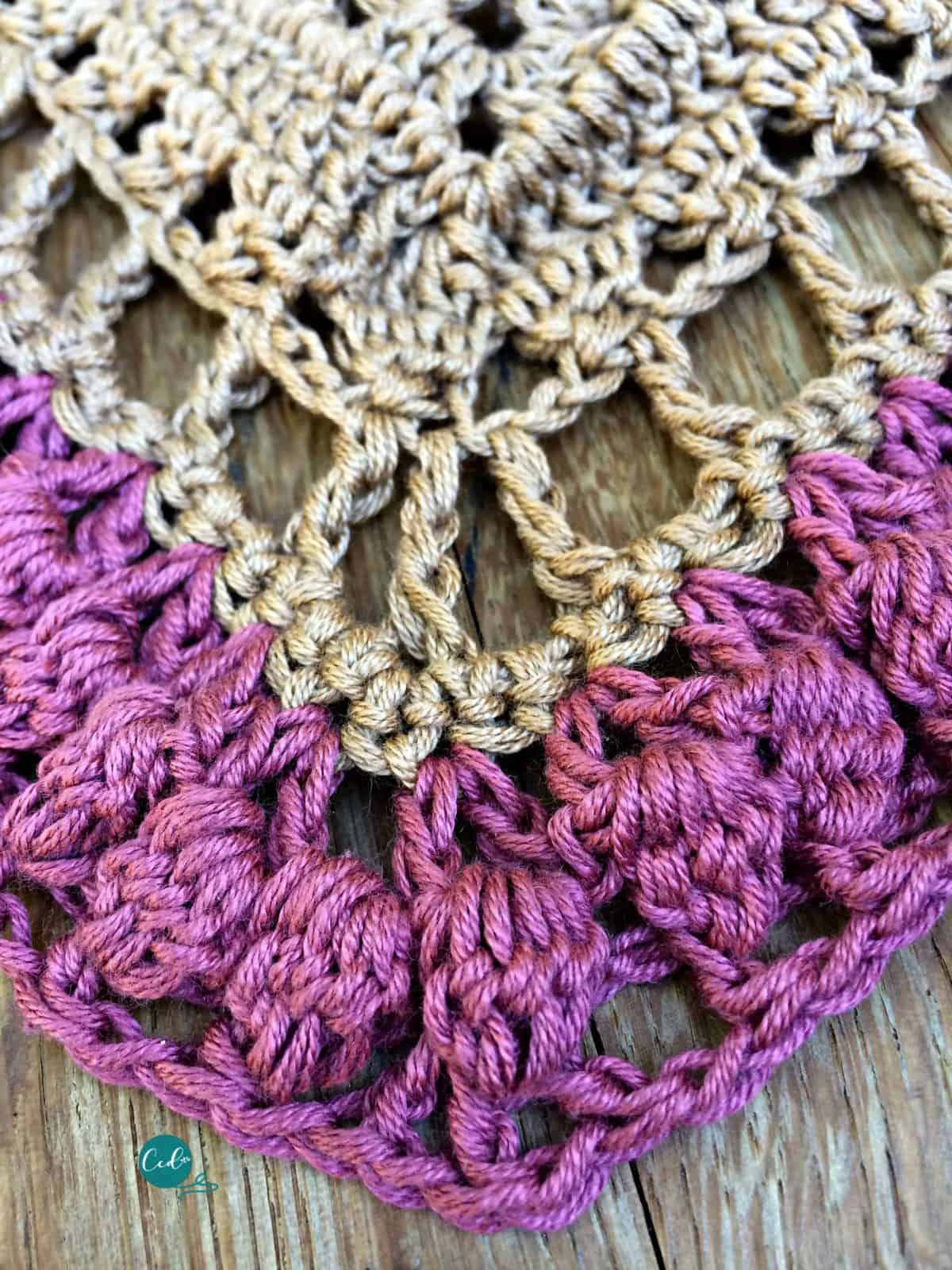 Bobble stitches in crochet shawlette.