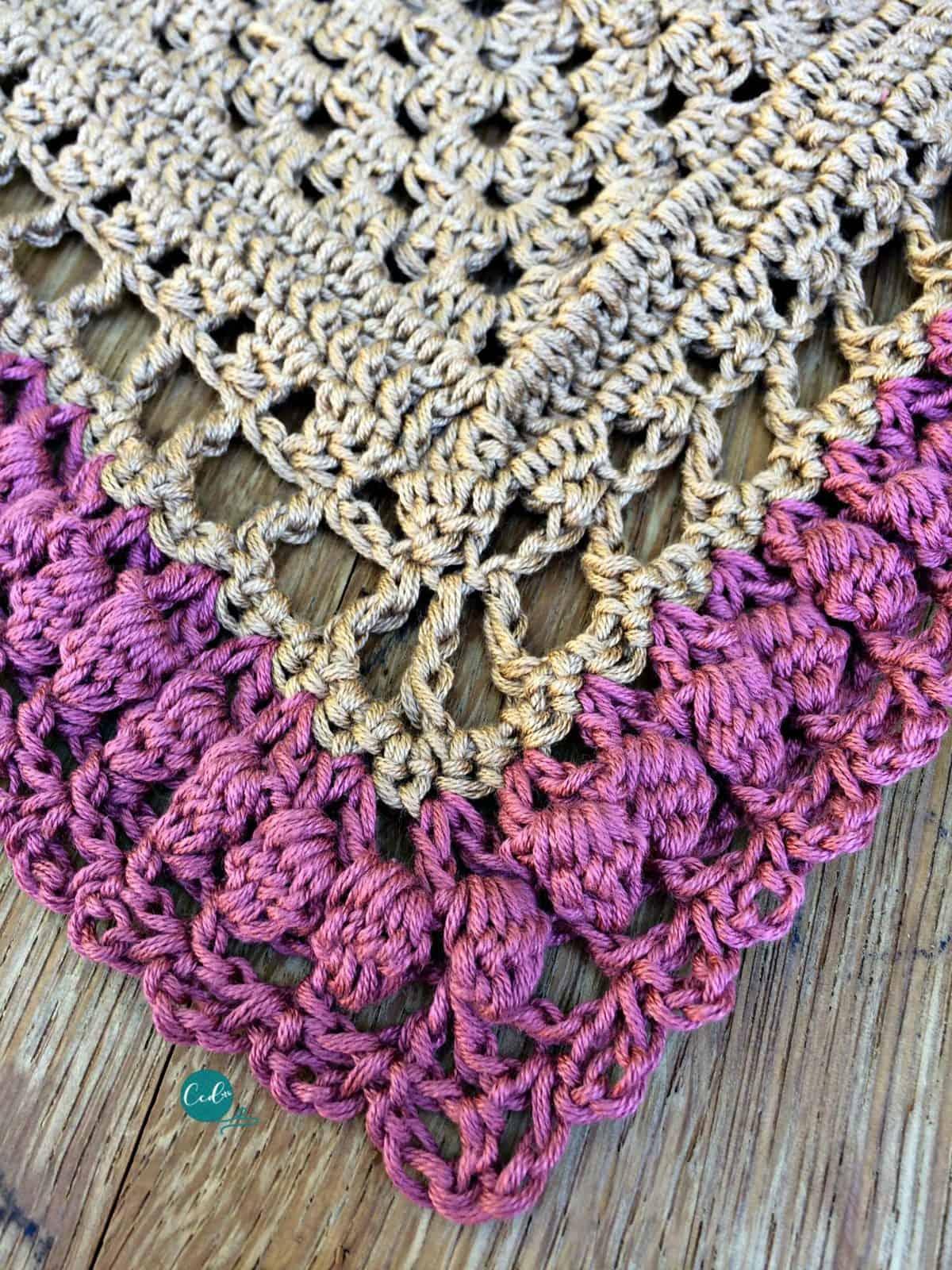 Triangle shawl through row 19.