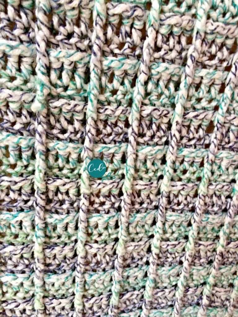 Front post double crochet in waffle stitch blanket.