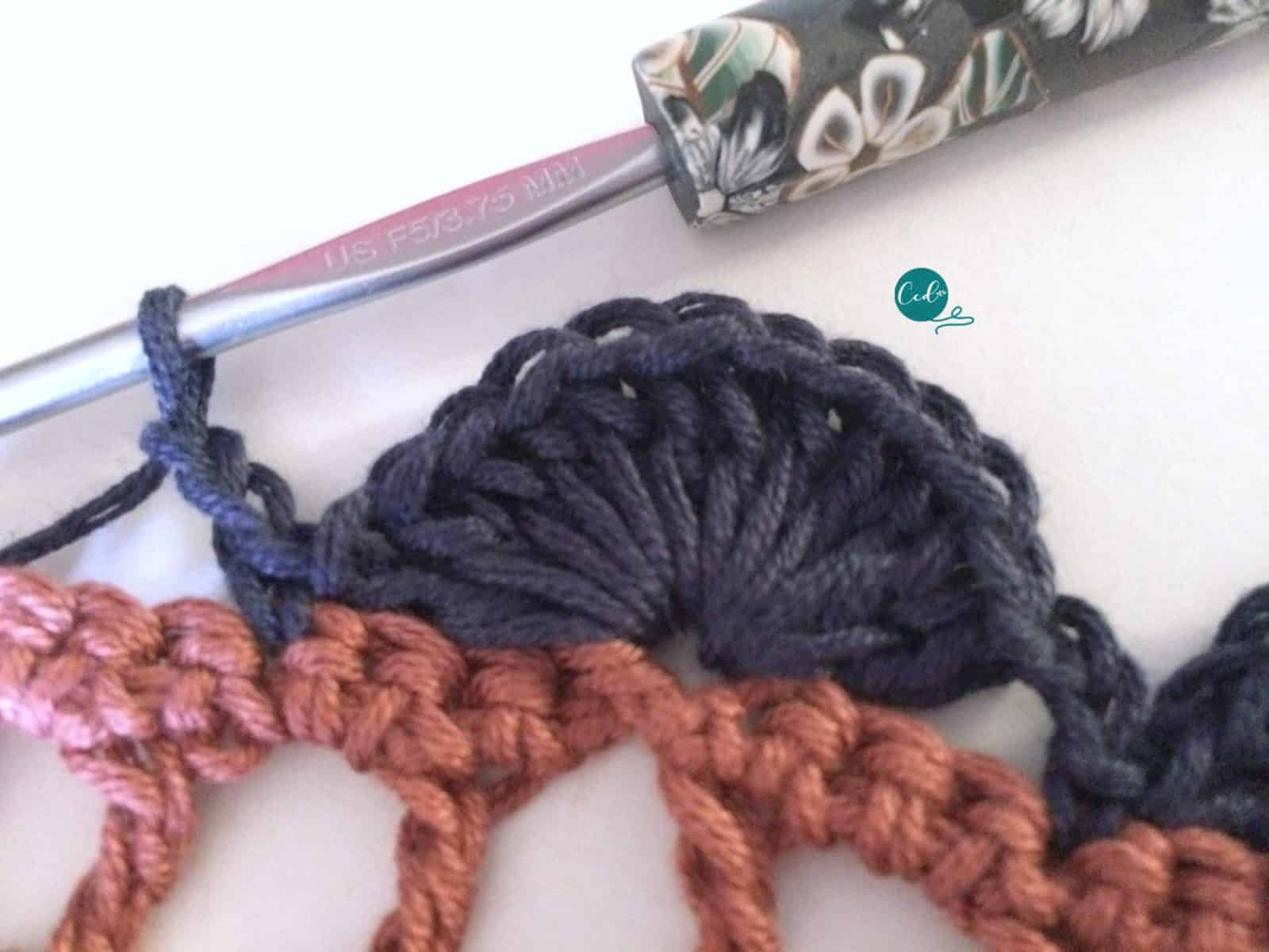 12 double crochet fan stitch.