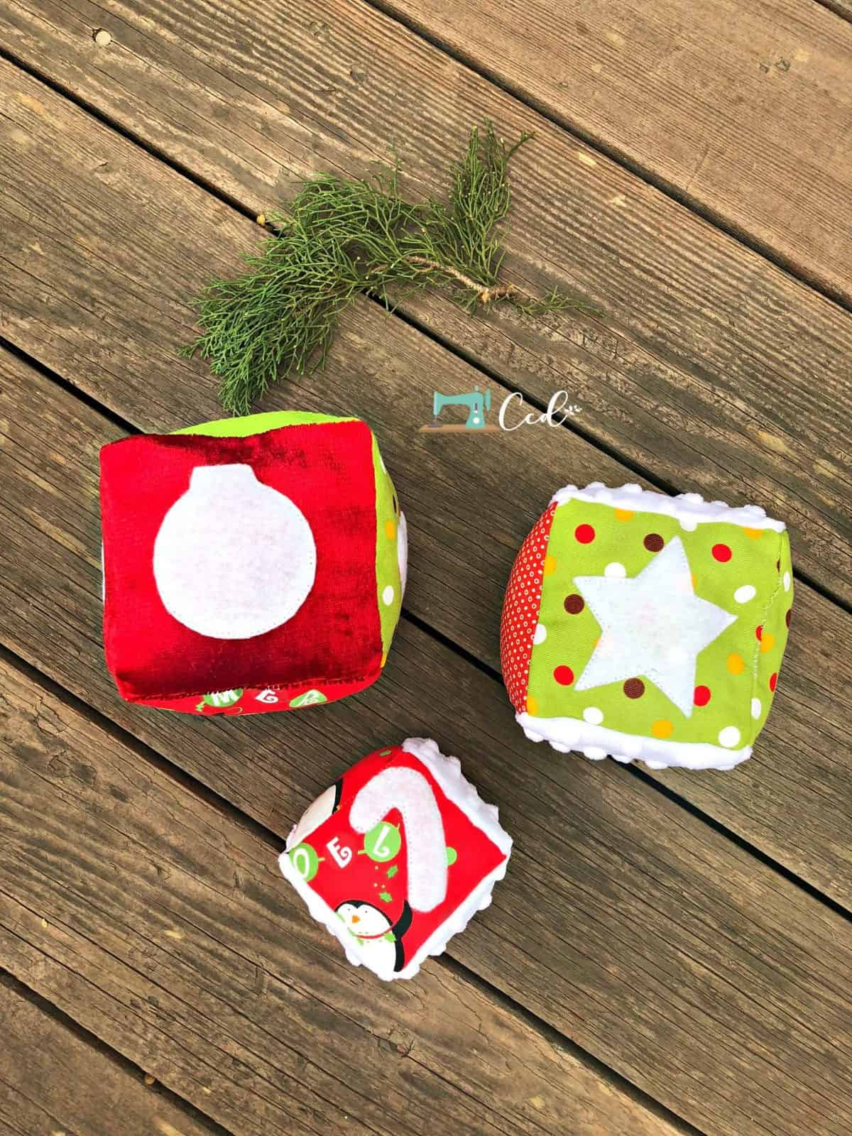 Christmas blocks with ornaments sewing pattern.
