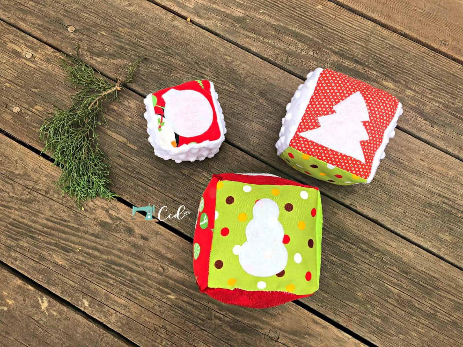 Soft cube Christmas blocks sewing pattern.