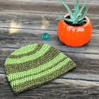 picture of green striped crochet beanie