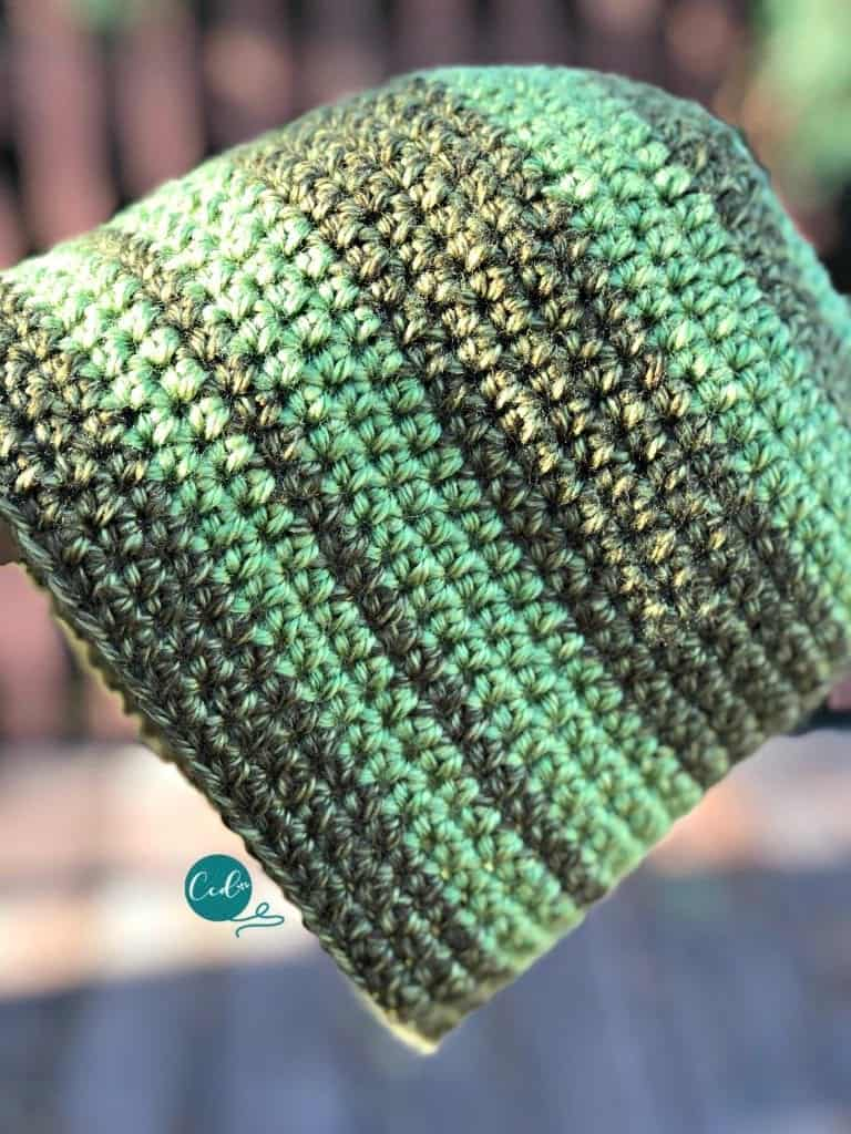 picture of crochet striped beanie green