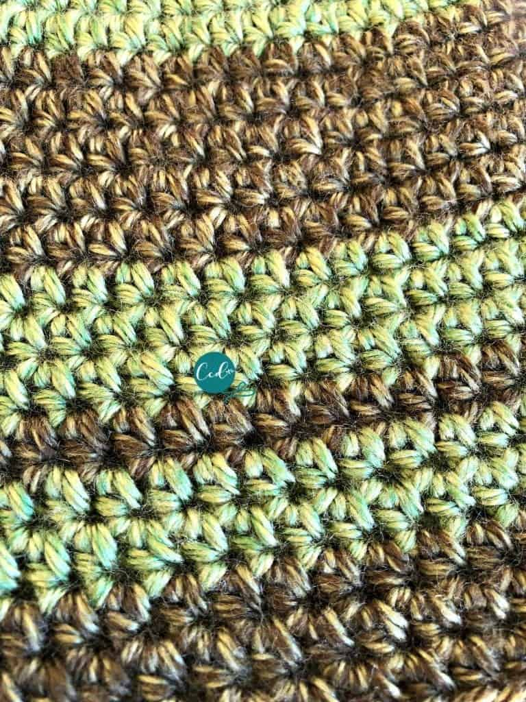 picture of close up stripes on crochet beanie in greens