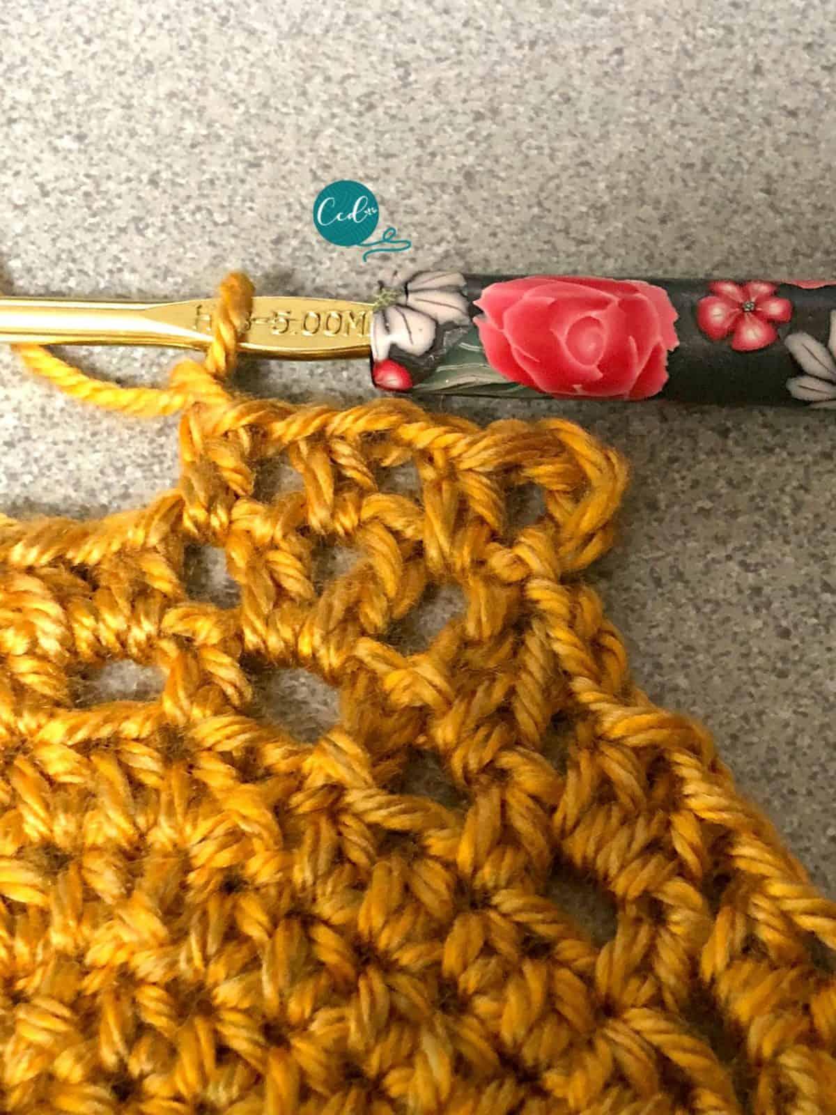 Half double crochet in chain spaces.