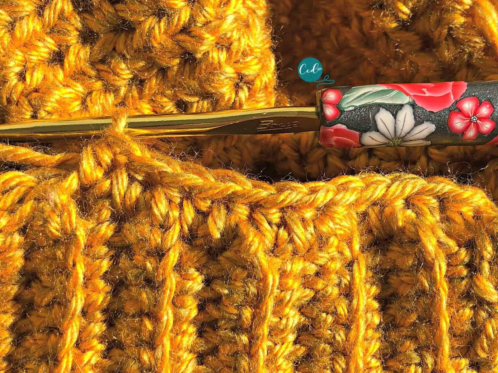 Half double crochet ribbing to hat.