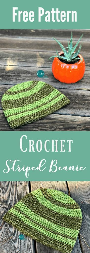picture of striped crochet hat in greens with text free crochet pattern