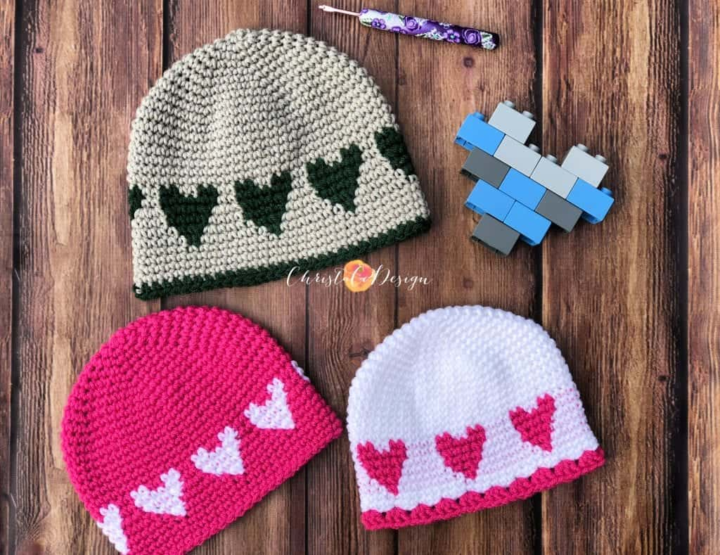 picture of 3 heart hats