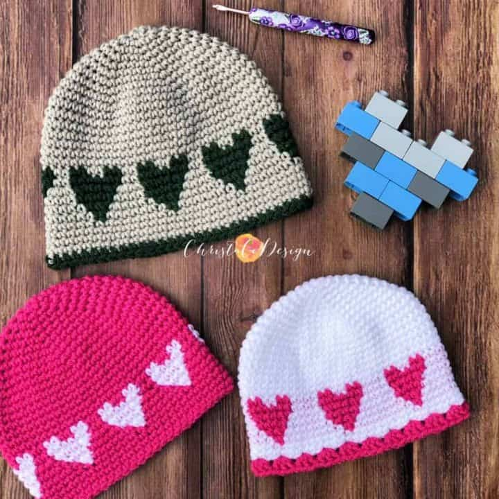 picture of 3 heart hats in various colors