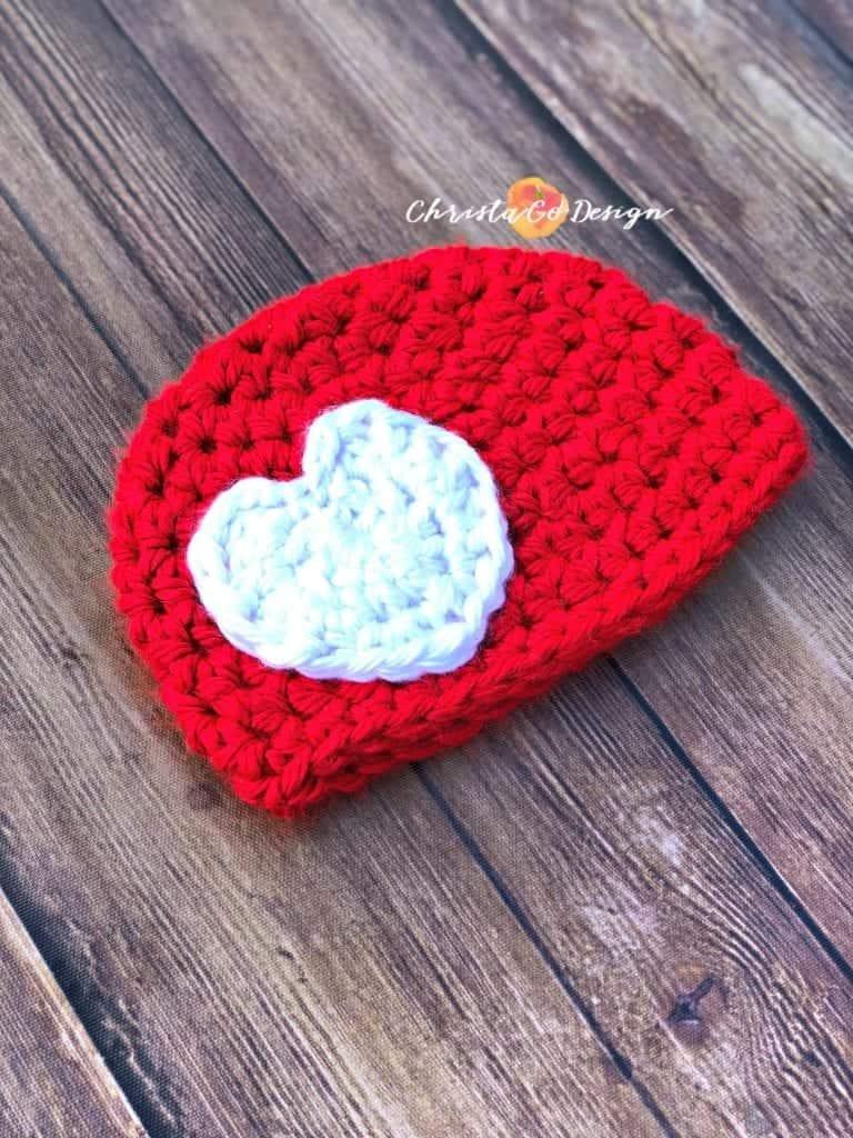 baby hat, sizes newborn to 12 months, red hat, white heart applique