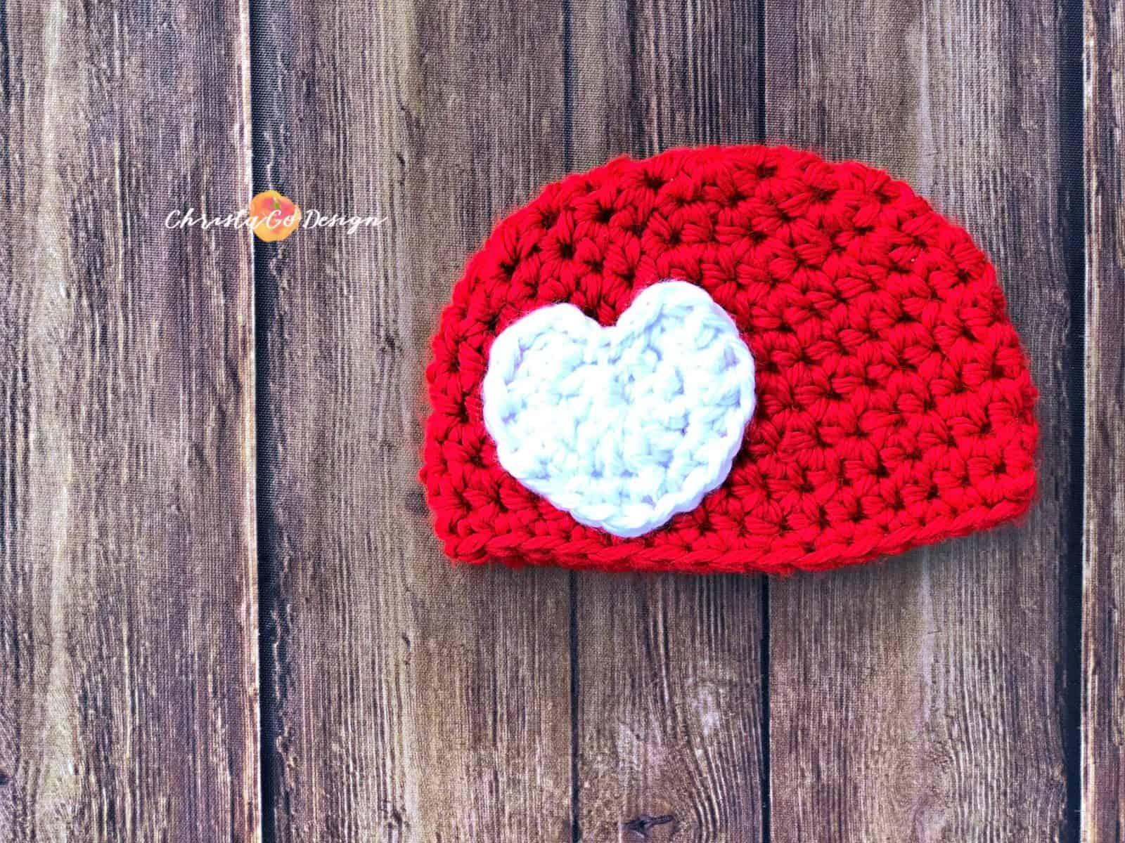 Chunky Crochet Heart Applique Free Crochet Pattern